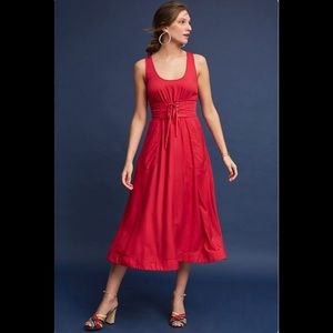 Anthropologie Red Corset Dress